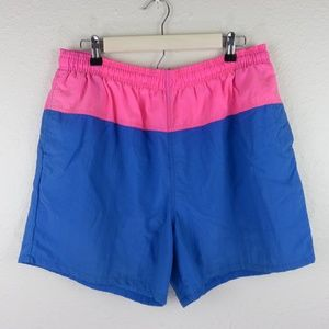 Express Vintage Neon Colorblock Lined Swim Trunks
